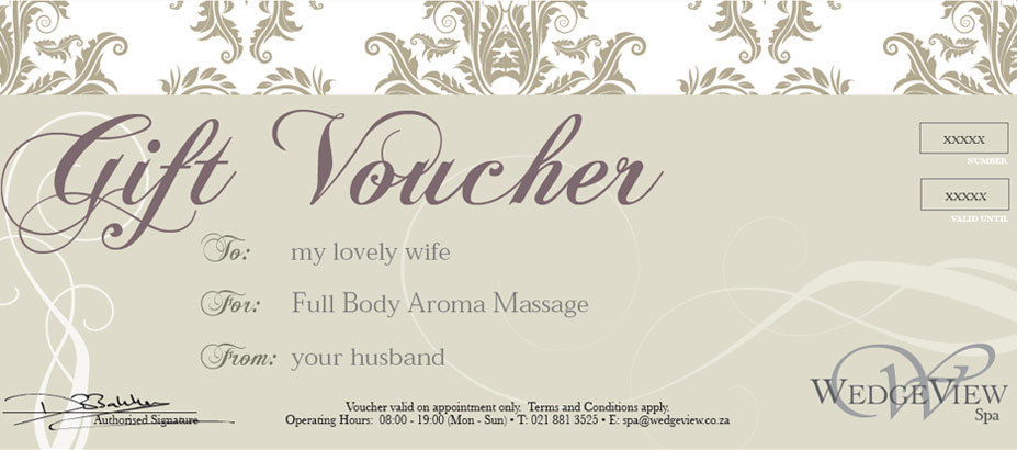Gift Vouchers Wedgeview Country House And Spa Stellenbosch